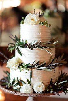Brides: Wedding Cake with Greenery and Ranunculus #wedding #weddingcake #cake