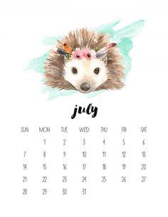 Free Printable 2018 Watercolor Animal Calendar - The Cottage Market July Calendar, Free Printable Calendar, Free Printables, Calendar 2019 Cute, Work Calendar, Creative Calendar, Calendar Templates, Print Calendar, Calendar Ideas