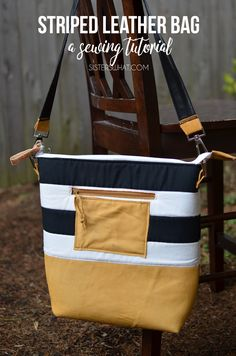 make this fun striped leather bag with leather and fun striped fabric.