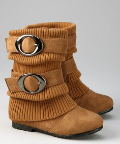 Tan Sweater-Cuff Double-Buckle Boots
