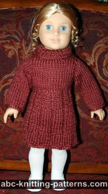 ABC Knitting Patterns - American Girl Doll Dress for Uma and Josephina Knitting Dolls Clothes, Crochet Doll Clothes, Girl Doll Clothes, Girl Dolls, Knitted Doll Patterns, Doll Dress Patterns, Knitted Dolls, Knitting Patterns, Free Knitting