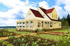 California Farmhouse - 490012RSK | 2nd Floor Master Suite, Beach, Butler Walk-in Pantry, Cape Cod, Cottage, PDF, Traditional, Vacation, Wrap Around Porch | Architectural Designs
