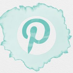 PINTEREST APP ICON WATERCOLOR SPLASH SEAFOAM, AESTHETIC ICONS,