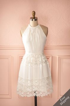 Bergdis Pure - White A-line embroidered sleeveless halter dress