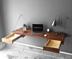 Walnut Floating Desk With Storage Computer Desk Laptop Home Furniture Office Table Workstation Floating Floating Desk With Drawers, Floating Table, Floating Wall Desk, Home Office Design, Home Office Decor, Office Table, Design Desk, Wall Mounted Desk, Desks For Small Spaces
