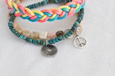 """Armbänder & Armreife - 3 Armbänder """"braided neon"""" - ein Designerstück von home-context bei DaWanda"""