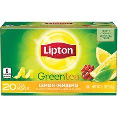 Lipton Lemon Ginseng Green Tea, 20 ct