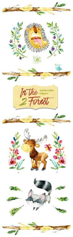 In the Forest 2. Watercolor animals clip art elk от StarJamforKids