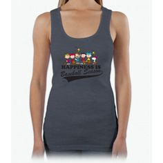 The Peanuts Gang Baseball Charlie Brown Ladies Triblend Racerback Tank