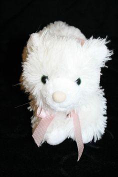 "Boyds Bears & Friends Cat Plush White Kitten Green Eyes Stuffed Animal Toy 12"""