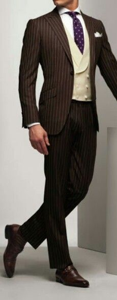 Brown pinstripe and a buff double-breasted waistcoat? Gentlemen, we have style.