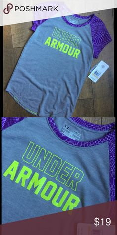 NWT Under Armour girls shirt Gray, purple and green Under Armour Shirts & Tops Tees - Short Sleeve