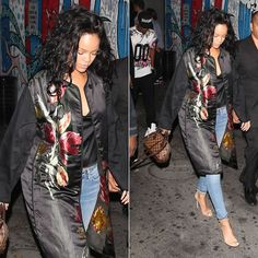 Rihanna wearing Dries Van Notel Spring 2014 floral jacquard coat, Citizens of Humanity Racer skinny jeans in Crosby, Manolo Blahnik Chaos an...