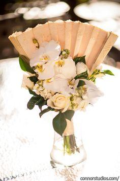 Incorporating Family Heirlooms, Vintage Fan, Fan Bouquet