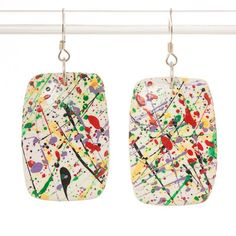 Jackson Pollock inspired multi-colored polymer clay dangle earrings A2