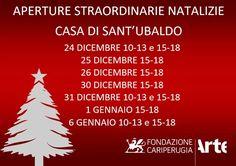 A #Natale aperture straordinarie della #CasaDiSantUbaldo a #Gubbio  Un'occasione per poter visitare la nuova e splendida struttura eugubina! Ecco tutti gli orari :) #savethedate #news #concariperugia #MerryXMas Signs, Home, Aperture, Shop Signs, Sign