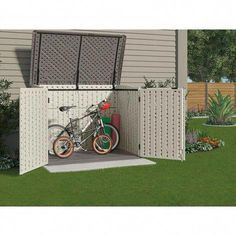 Suncast Stow-Away 3 ft. x 5 ft. Resin Horizontal Storage Shed at The Home Depot - Mobile - this is what we need for strollers Garbage Shed, Garbage Storage, Storage Shed Plans, Backyard Storage, Outdoor Bike Storage, Bicycle Storage, Outside Bike Storage, Outdoor Projects, Outdoor Decor