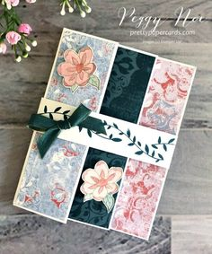 Fun trifold card using the retiring Botanical Bliss stamp set and retiring Woven Threads paper. Get them before they're gone - in my online shop🌸 Tri Fold Cards, Fancy Fold Cards, Folded Cards, Card Making Tips, Stamping Up Cards, Paper Cards, Paper Design, Bliss, Card Ideas