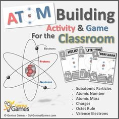 Atom Building Activity & Game - Basic Chemistry by Genius Games Cool Science Experiments, Science Activities, Classroom Activities, Science Ideas, Teaching Chemistry, Chemistry Lessons, Sixth Grade Science, Atomic Theory, Letters