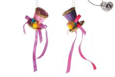Goodwill Kerstdecoratie Hanger Clown Hoed - Set van 2 - 9 cm -Multi