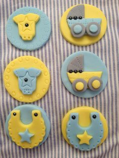 Baby Shower Fondant Cup Cake and Cookie Toppers