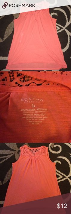 Coral tank, size L in women's Beautiful coral colored size L Sonoma tank with lace detail in back! Like new condition, worn maybe three times, just too big now! Looks great with leggings, jeans or slacks! Smoke free home, make me an offer! Sonoma Tops Tank Tops