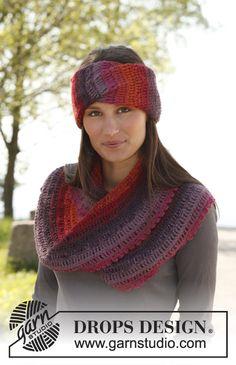"Free pattern: Crochet DROPS head band and moebius neck warmer in 2 strands ""Alpaca"". ~ DROPS Design"