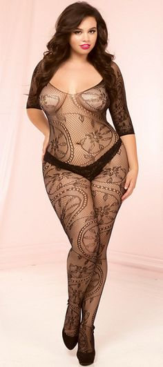 d7c81fd4df Plus Size Seductive Black Lace Bodystocking