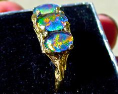 Beautiful  Opal and Diamond Engagement Ring. Natural by AmyKJewels