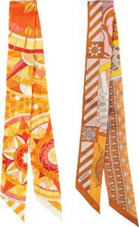 """Hermes Set of Two; Orange Silk Twilly Scarves Pristine Condition 2"""" Width x 34"""" Length ... (Total: 2 )"""