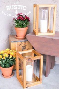 DIY Rustic Wood Lanterns