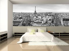 Panoramic View of Paris Wall Mural in a bedroom (Diy Wall Mural) Paris Rooms, Paris Bedroom, Bedroom Wallpaper Murals, Custom Wall Murals, Photo Mural, Paris Decor, Paris Ville, Inspiration Wall, Beautiful Bedrooms