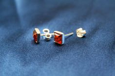 Cognac Square Amber Earrings - Sterling silver square earrings with cognac colored amber made from genuine amber and 925 sterling silver. These stud earrings are suitable for all occasions. Also available in green color - Amber Earrings, Sterling Silver Earrings, Stud Earrings, Square Earrings, Green Colors, Charlotte, Collection, Jewelry, Jewlery