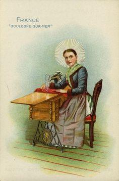 "Singer Advertising Card - France ""Boulogne-Sur-Mer"" | Postcard | Wisconsin Historical Society"