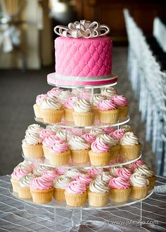 Pink and White Cupcakes Setup Like Wedding Cake