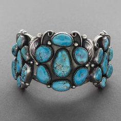Navajo Bracelet with 21 Turquoise Stones