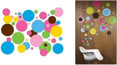 """You'll go delightfully dotty with these multi-colored wall decorations. You can dot your i's and cross your t's with this removable wall art in your room. The sticker decor is a spot on bet anywhere you want a burst of happiness. Dot Dash Dot your Morse Code signal to get this dot wall decal in your space today.    Each kit contains 80 multi-colored dots of varying sizes. Colors include: Bright Pink, Baby Pink, Sea Blue, Robins Egg Blue, Lime, Sunshine Yellow & Chocolate Brown.  Dots 10"""" to…"""