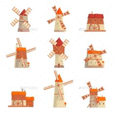 Find Rural Windmills Set Collection Traditional Windmills stock images in HD and millions of other royalty-free stock photos, illustrations and vectors in the Shutterstock collection. Thousands of new, high-quality pictures added every day. Moulin France, Unusual Buildings, Children's Book Illustration, Book Illustrations, Green Technology, Architectural Elements, Windmill, Packaging Design, Royalty Free Stock Photos