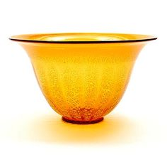 Amber glass Serica bowl no.2 with crackle design A.D.Copier 1928 executed Glasfabriek Leerdam / the Netherlands