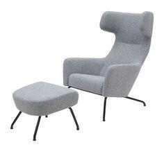 Moderner Sessel / Original Fußschemel / Ohren - HAVANA WITH COPPER by Busk & Hertzog - SOFTLINE A/S