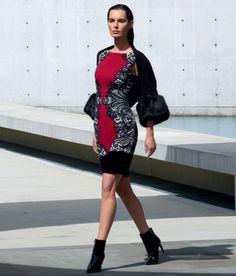 Joseph Ribkoff jurk rood met zwart-offwhite print 153657 AS