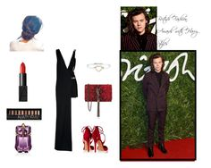 """""""British Fashion Awards"""" by harvylicious ❤ liked on Polyvore featuring Versus, Aquazzura, Yves Saint Laurent, NARS Cosmetics, Forever 21, Thierry Mugler and Tiffany & Co."""