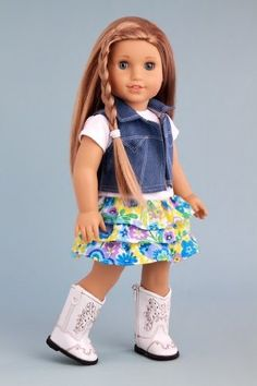DreamWorld Collections Feeling Happy - Colorful skirt with white t-shirt and blue jeans vest (boots not included) - American Girl Doll Clothes : Contemporary Doll Outfits