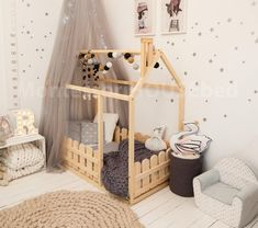 Bed house is an amazing floor bed for children to can sleep and play. This adorable house bed will Wooden Toddler Bed, Wooden Baby Crib, Kids Bed Design, Playroom Design, Playroom Ideas, Playroom Colors, Cute Bedding, Baby Crib Bedding, Baby Cribs