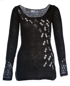 Peacock Ripped Sweater (lucifer black) light weight, luxurious feel blended knitwear