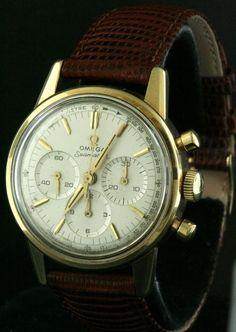 Omega Seamaster vintage 14K gold 1962 screw back chronograph watch CAL 321