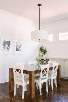 white + wood dining room