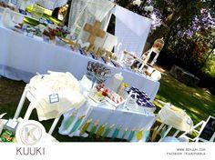 Mesa de dulces | primera comunión | fiesta | azul, beige & blanco | www.beKUUKI.com