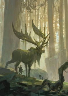 Primordial forest giant deer