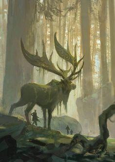 Primordial forest giant deer